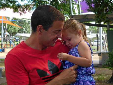 Clinton Evans with two-year-old daughter Victoria who has cystic fibrosis.