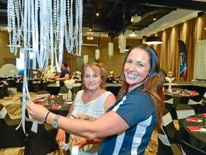 Amy Dew along with Odette Williams put the finishing touches to the room decorating for the function today.