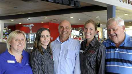GOODBYE AND GOODLUCK: (from left) South Grafton Ex-Servicemen's Club assistant manager Heidi Buist, barista Beth Jackson, secretary manager Col Green, bistro manager Megan Graham and deputy president Andy McGill.
