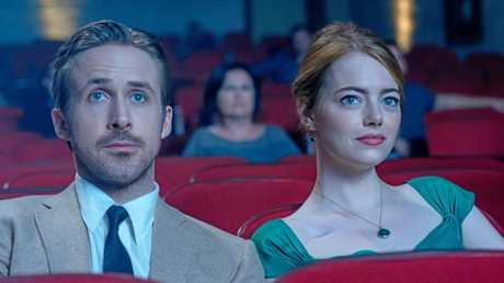 Ryan Gosling and Emma Stone in a scene from the movie La La Land.
