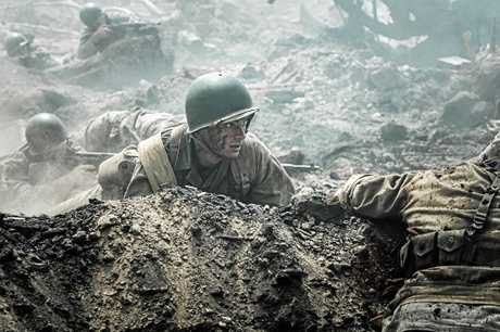 Andrew Garfield in a scene from the movie Hacksaw Ridge.
