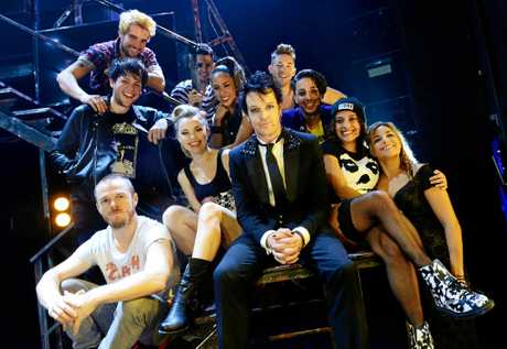 Chris Cheney (centre) of The Living End stars in the Australian production of Green Days musical American Idiot currently performing at Brisbane's QPAC Theatre.