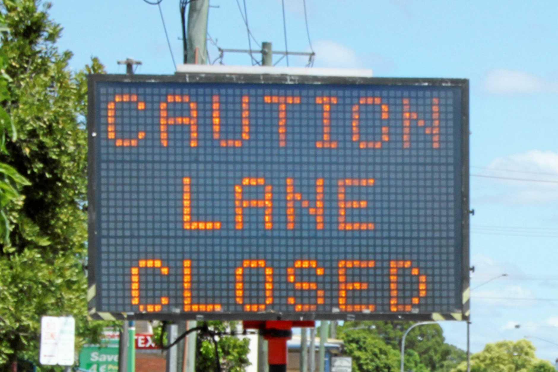 The lane closed sign on Fitzroy Street, Grafton. Photo: Jojo Newby / The Daily Examiner