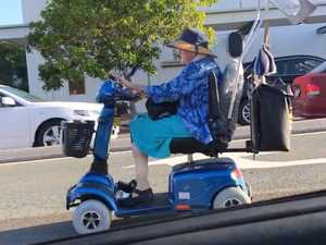 Mobility scooter causes mayhem on busy road