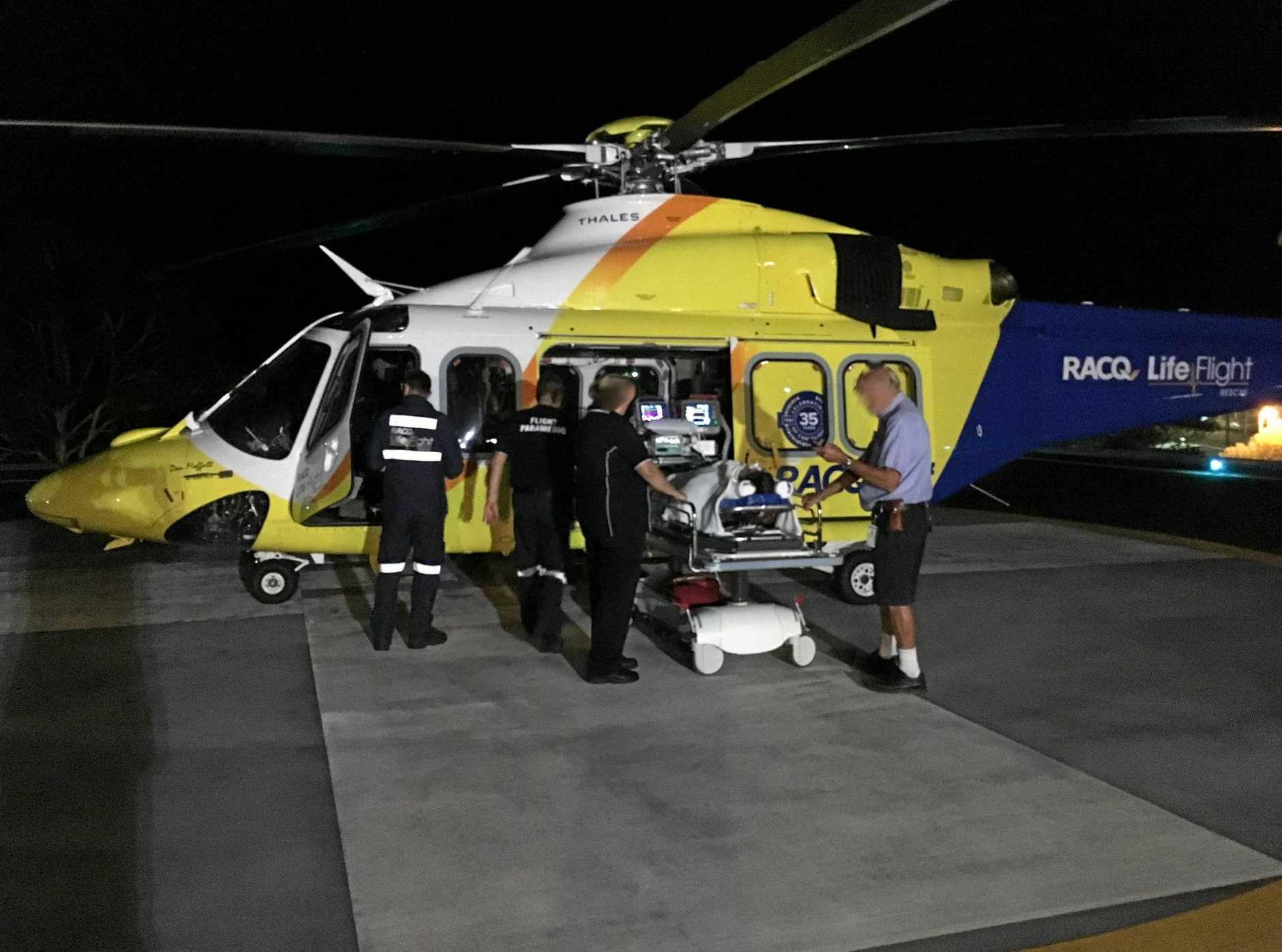 The Sunshine Coast's new 'Don Moffatt' RACQ LifeFlight Rescue helicopter has flown its first mission.