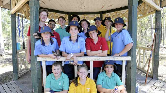 Students form year 7-10 from Clarence Valley Anglican School in the gazebo some of them are helping repair in Waterview Heights.
