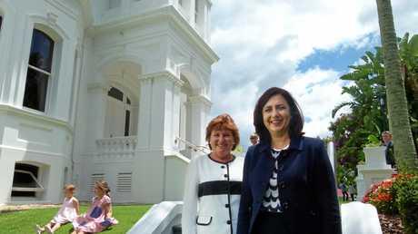 Bundamba MP Jo-Ann Miller with Queensland Premier Annastacia Palaszczuk after being sworn in at Government House.
