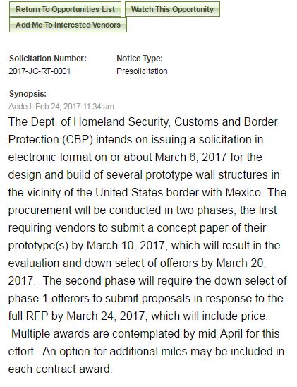 The short notice announcing the U.S Government plans to call for designs for its controversial U.S-Mexico border wall.