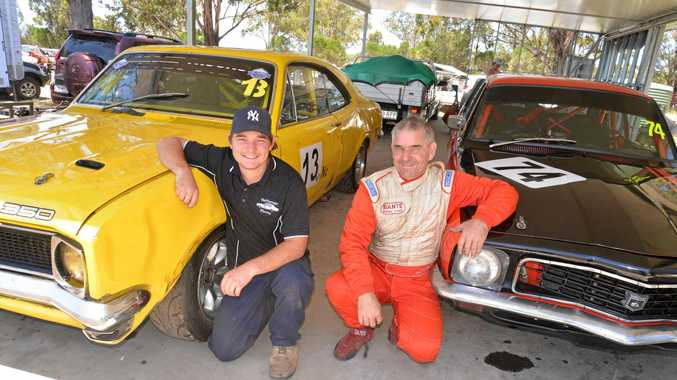 Ashley and Kevin Heffernan raced each other at Morgan Park Raceway in the CAMS Queensland Motor Racing Championships in 2016.