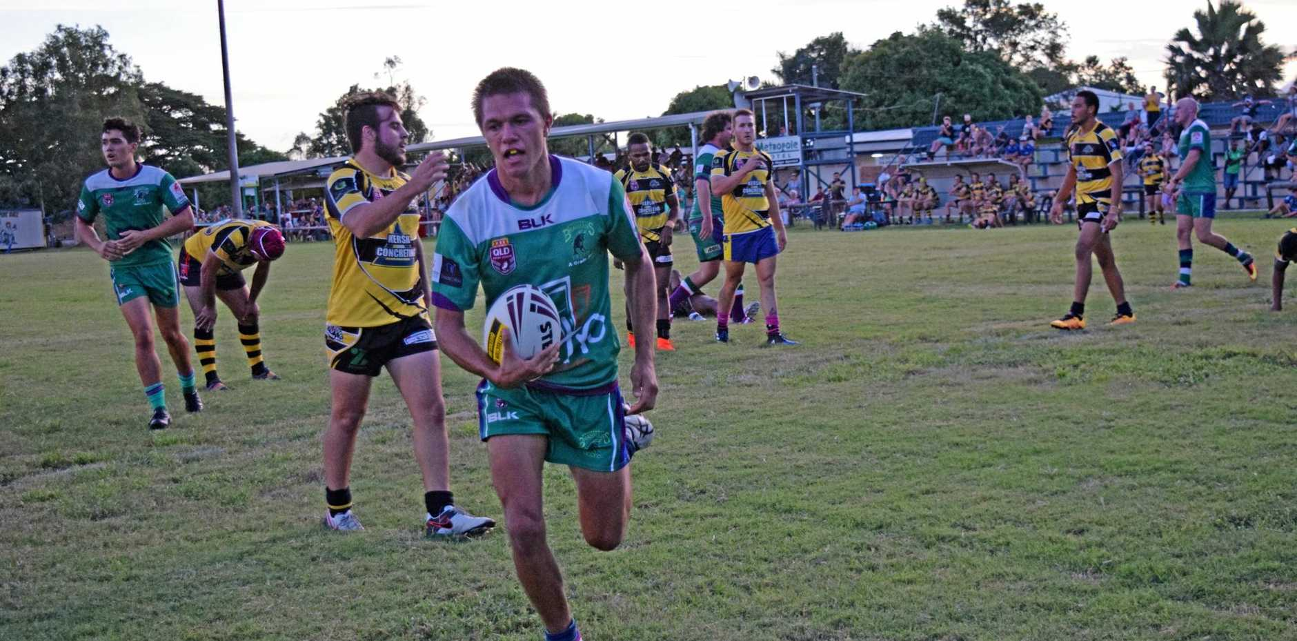 IN FORM: Brahmans player Byron Taylor scored three tries at the Sam Faust memorial match at Les Stagg Oval on Saturday night.