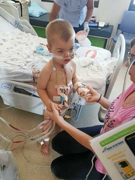 BRAVE HEART: Bundaberg's little Noah Lammi has undergone his third open heart surgery. He is now recovering in Lady Cilento Hospital Brisbane.
