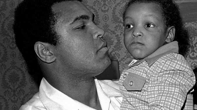 Muhammad Ali and Muhammad Ali Jnr in April 1975.