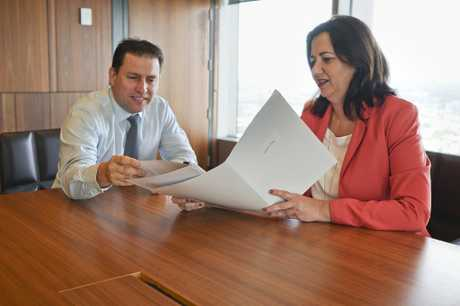LOTS OF CASH: Gladstone Regional Council Mayor Matt Burnett and Premier Annastacia Palaszczuk discuss the water dividends.