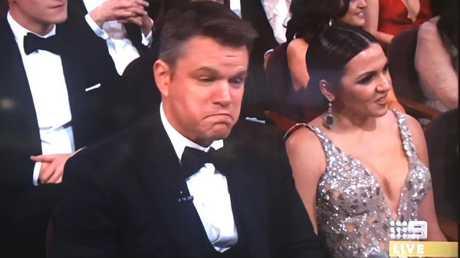 Fair call ... Matt Damon cops a hit from host Jimmy Kimmel.