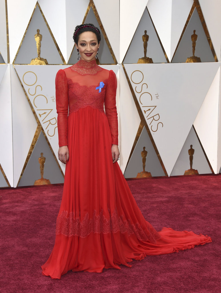 Ruth Negga arrives at the Oscars on Sunday, Feb. 26, 2017, at the Dolby Theatre in Los Angeles.