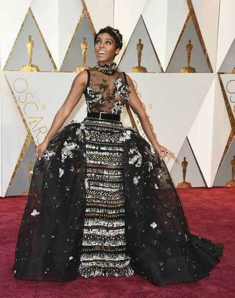 Janelle Monae arrives at the Oscars on Sunday, Feb. 26, 2017, at the Dolby Theatre in Los Angeles.