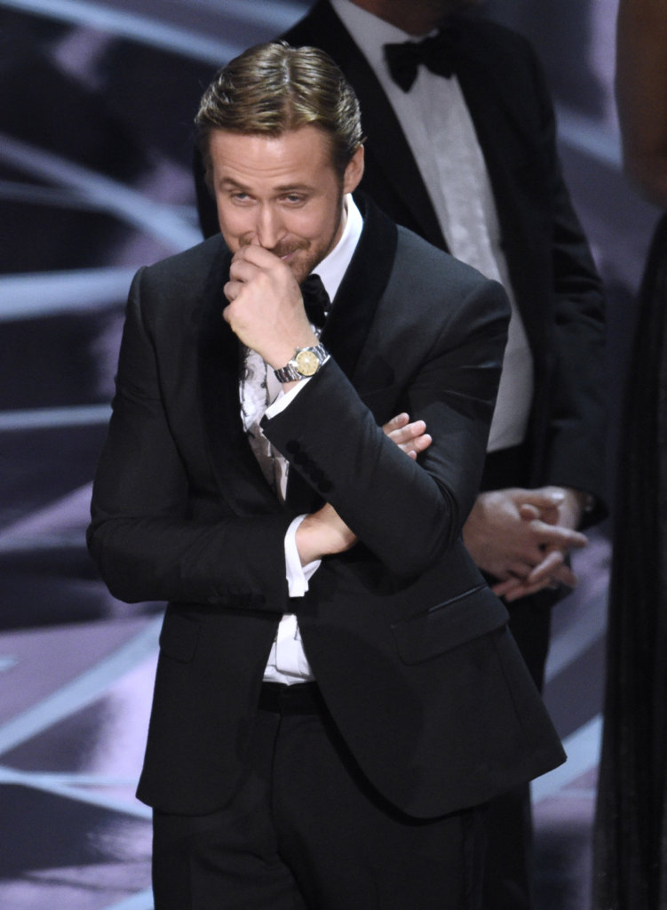 Ryan Gosling reacts as the true winner of best picture is announced at the Oscars on Sunday, Feb. 26, 2017, at the Dolby Theatre in Los Angeles. It was originally announced that \
