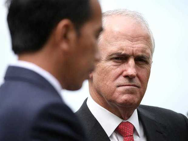 Indonesia President Joko Widodo (left) speaks as Australian Prime Minister Malcolm Turnbull looks on during a media conference in the gardens of Kirribilli House in Sydney, Sunday, Feb. 26, 2017.