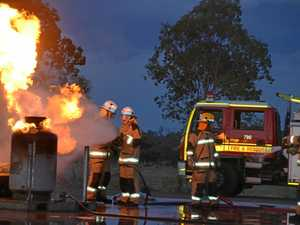 EXPLOSIVE EDUCATION: Gayndah and Biggenden crews train with gas fires in Gayndah.