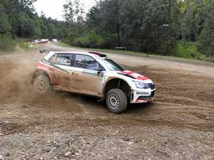 KICKING UP DIRT: Gaurav Gill in action at a previous International Rally of Queensland.