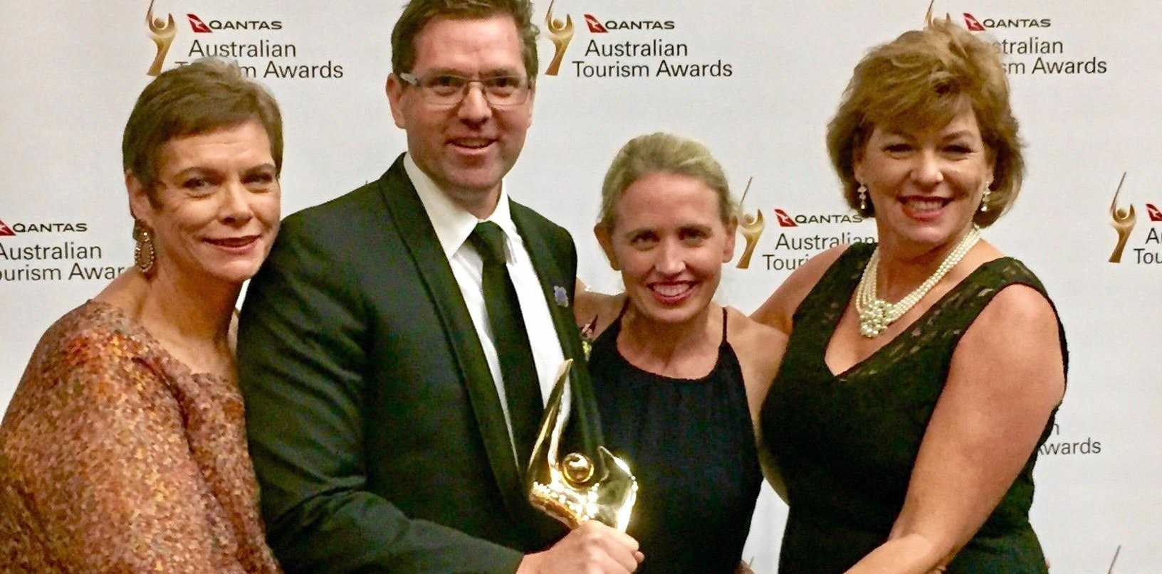 TOP AWARD: Celebrating the Gold Australian Tourism win are Mary-Clare Power, Cr Geoff McDonald, Qld Tourism Minister Kate Jones and Dr Jane Summers.