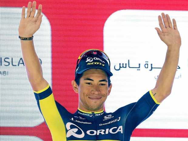 VICTORY: Australian Caleb Ewan celebrates his stage win in the Abu Dhabi Tour