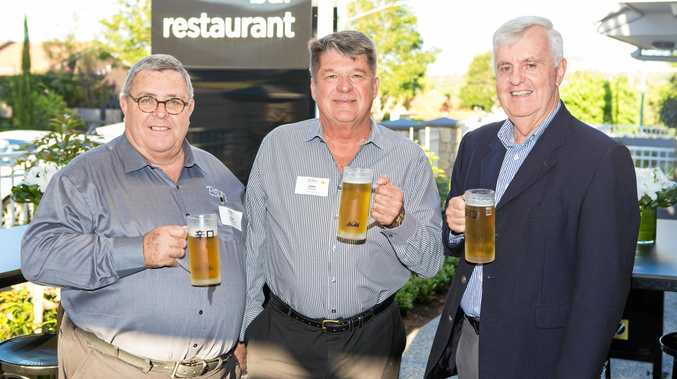 OPEN FOR BUSINESS: At the Potter's Boutique Hotel grand opening are (from left) Peter Stronge, John Potter and John Chapman on Thursday night.