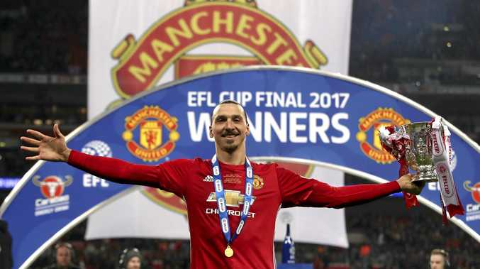 Manchester United's Zlatan Ibrahimovic celebrates with the trophy after his side won the League Cup Final.