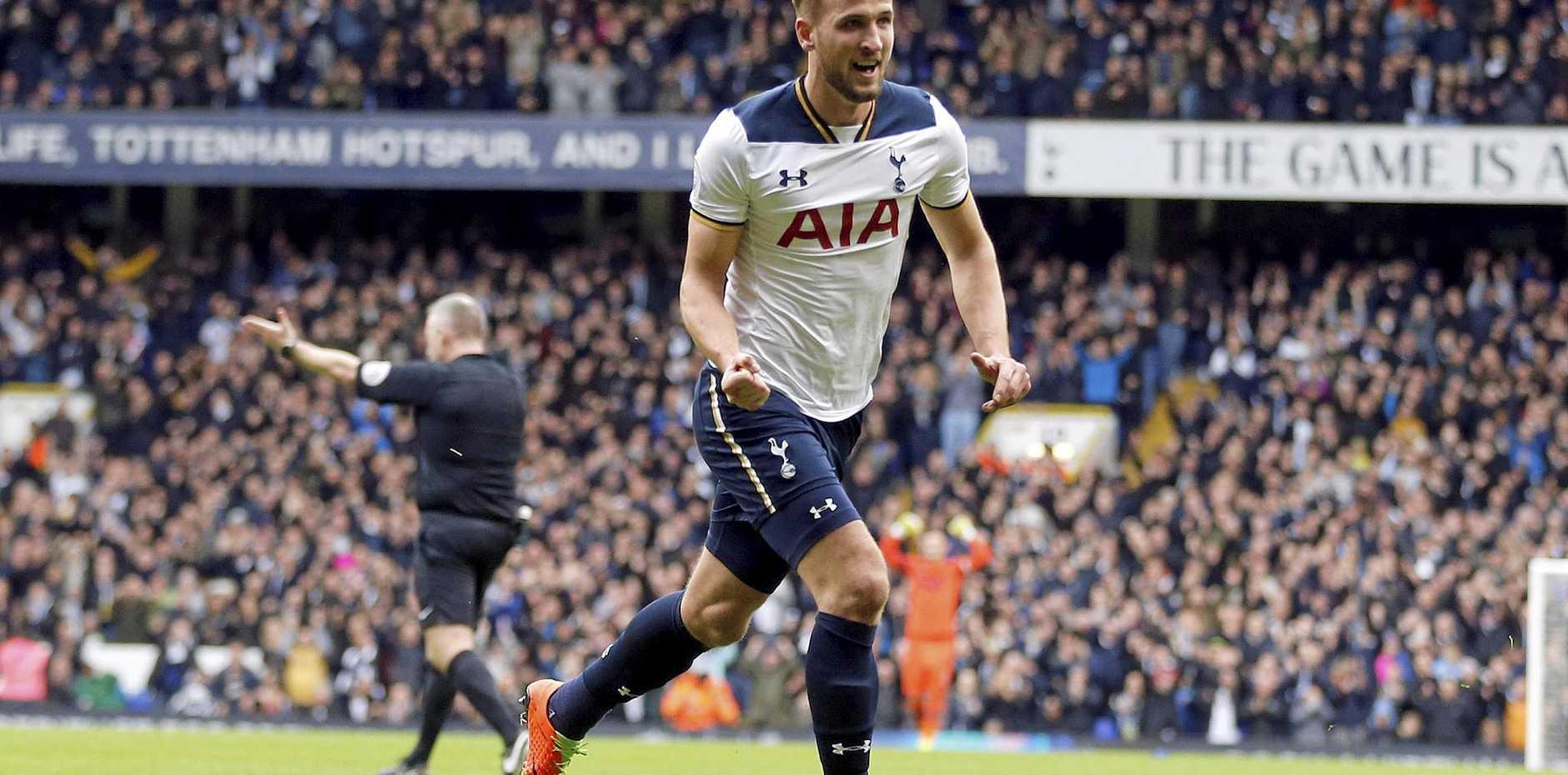 Tottenham Hotspur's Harry Kane celebrates after scoring his side's second goal against Stoke.