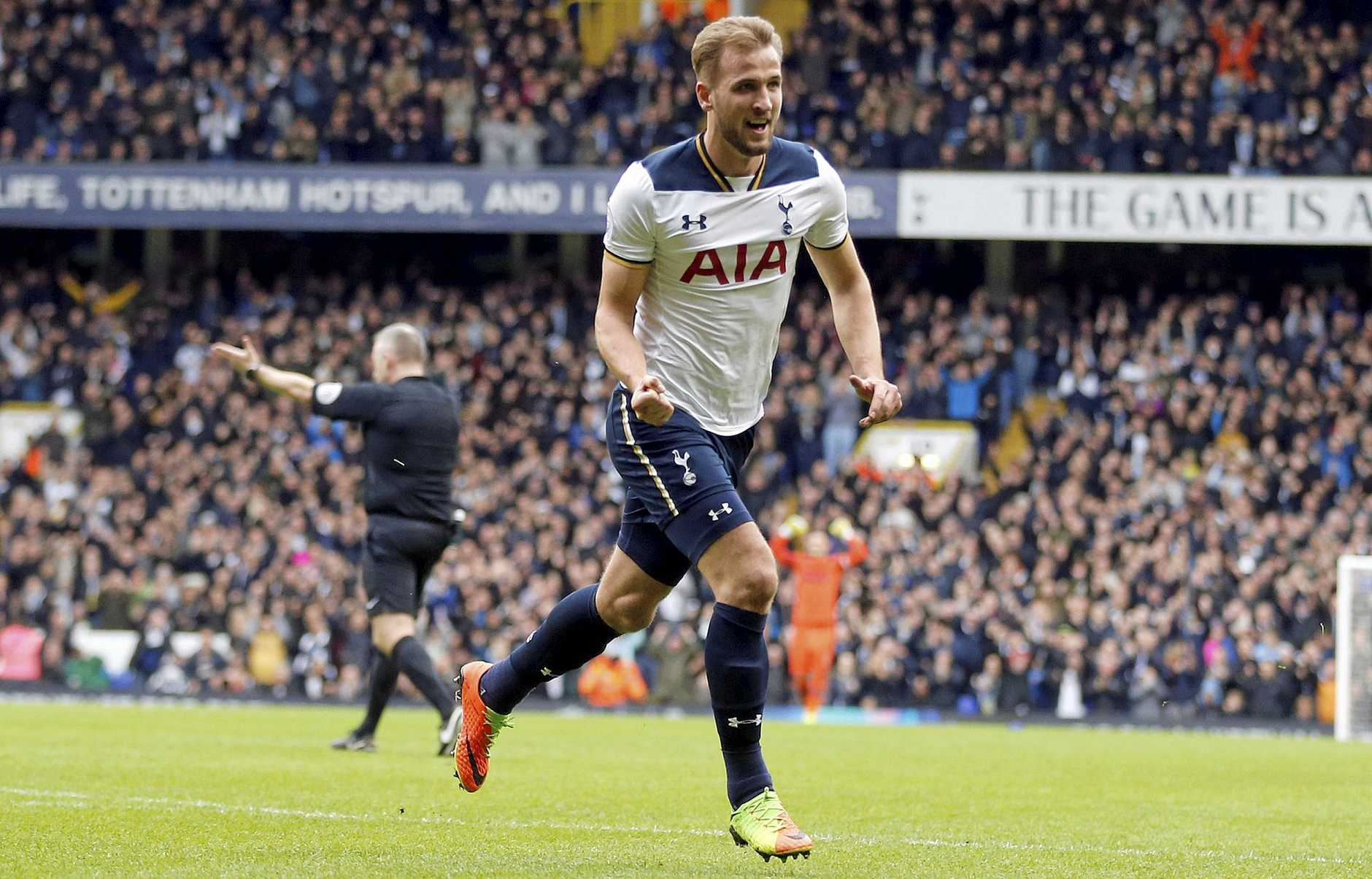 Tottenham Hotspur's Harry Kane celebrates after scoring his side's second goal against Stoke.
