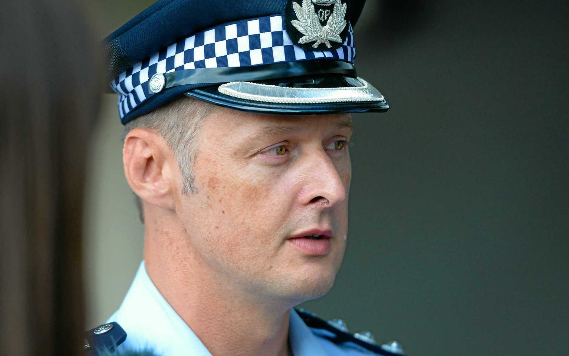 Police inspector Adam Muir at a press conference in Rockhampton.