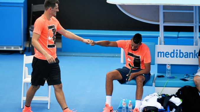 MATES: Bernard Tomic (left) could face Nick Kyrgios (right) for the first time in their professional careers this week.