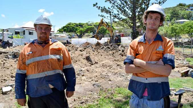 ON TRACK: Busby Contracting's Ashley Clark and supervisor Josh Fleming at the former Paint Pot Gallery site in Yeppoon's Beaman Park where demolition works have been taking place over the past week and-a-half.
