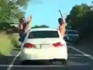A dangerous joyride on the way to Gardners Falls, Maleny, filmed by a following motorist.