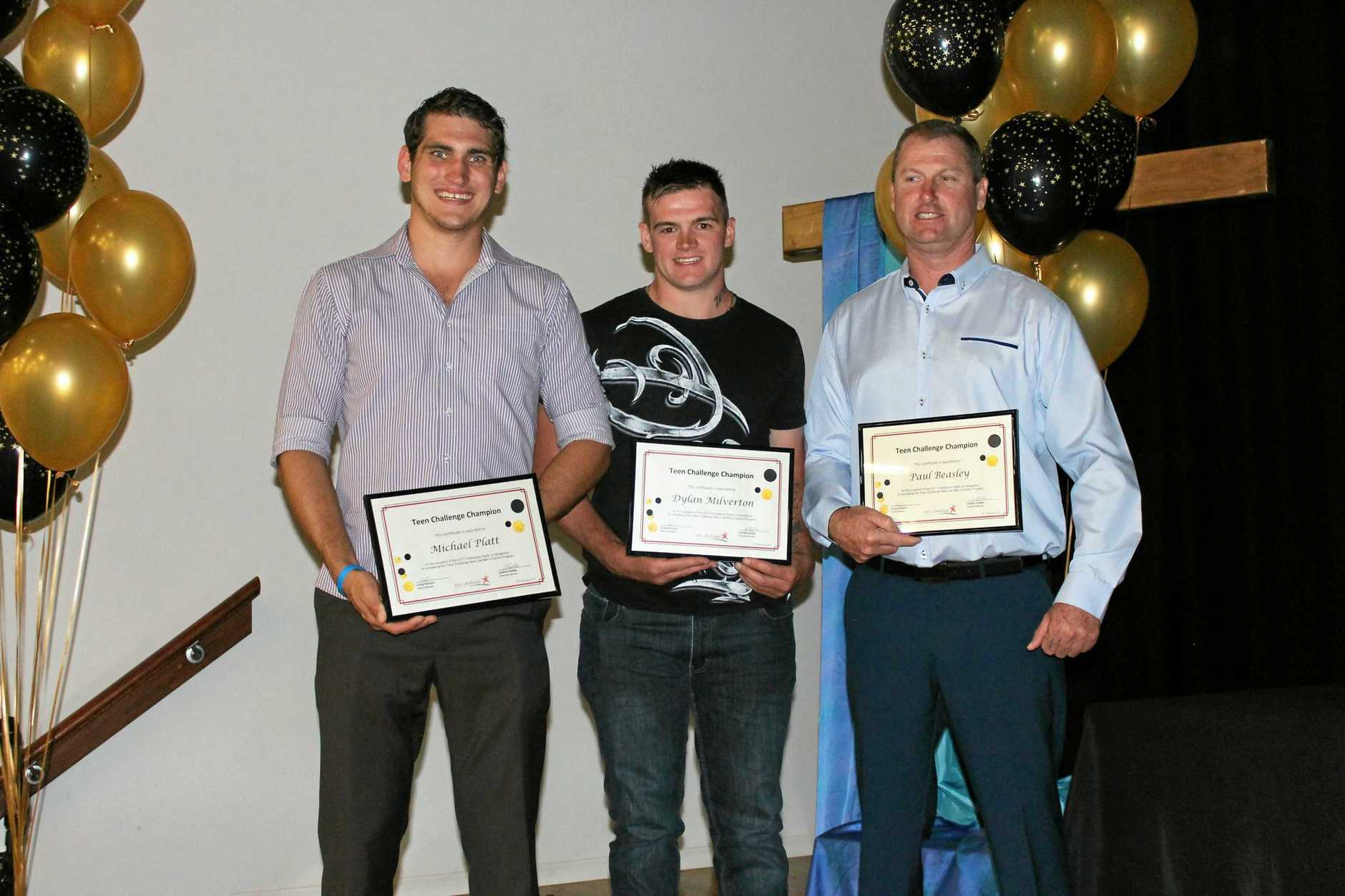 DRUG FREE: Graduating from the Teen Challenge program are (from left) Michael Platt, Dylan Milverton and Paul Beasley.