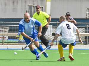 Russell Butle, Twb1 and  Patrick Collins, TWB2 .  Hockey Masters, Toowoomba 1 vs Toowoomba 2 .  Sunday may 1 , 2016.
