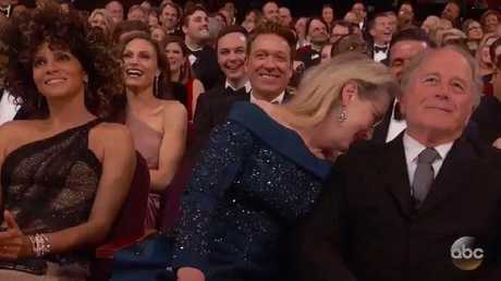 Meryl Streep attempts to hide during Jimmy Kimmel's epic shout out.