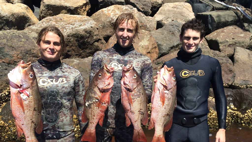 Free diving spear fisherman Sam Brown (19) (left), who died on Saturday pictured with his friends Kurt Zielow, 20, (centre), Liam Slack, 22, (right).