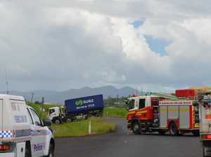 Powerlines down and road blocked after crash