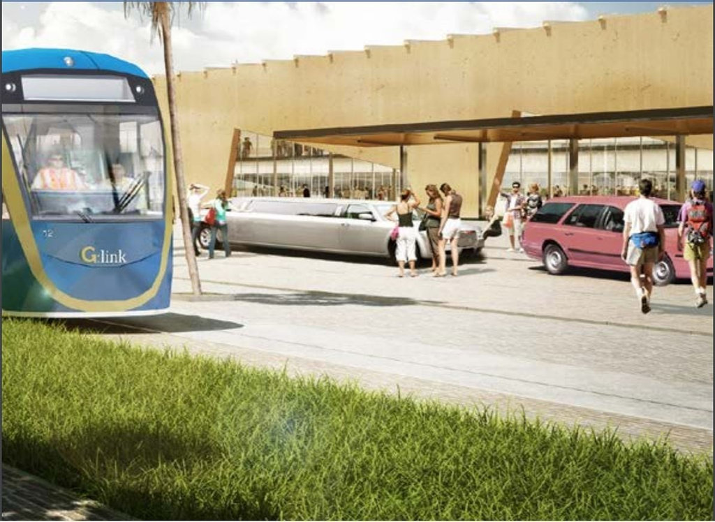 Artists impressions of the Gold Coast light rail extension to the airport as released in the airport's draft master plan. PHOTO: Supplied