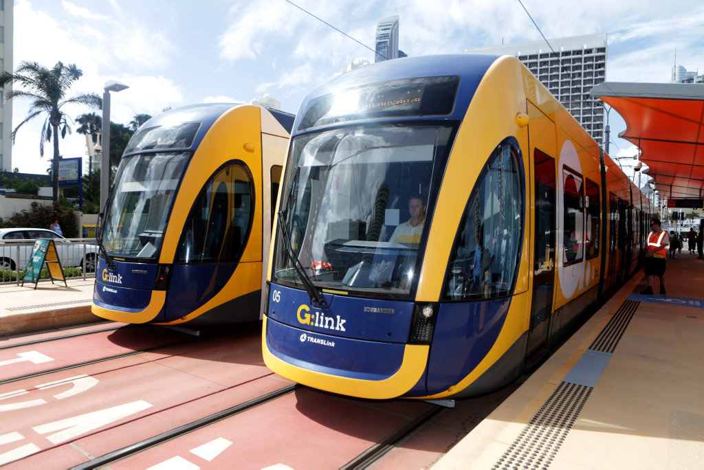 G-Link trams at the Cypress Avenue station. Pic Tim Marsden