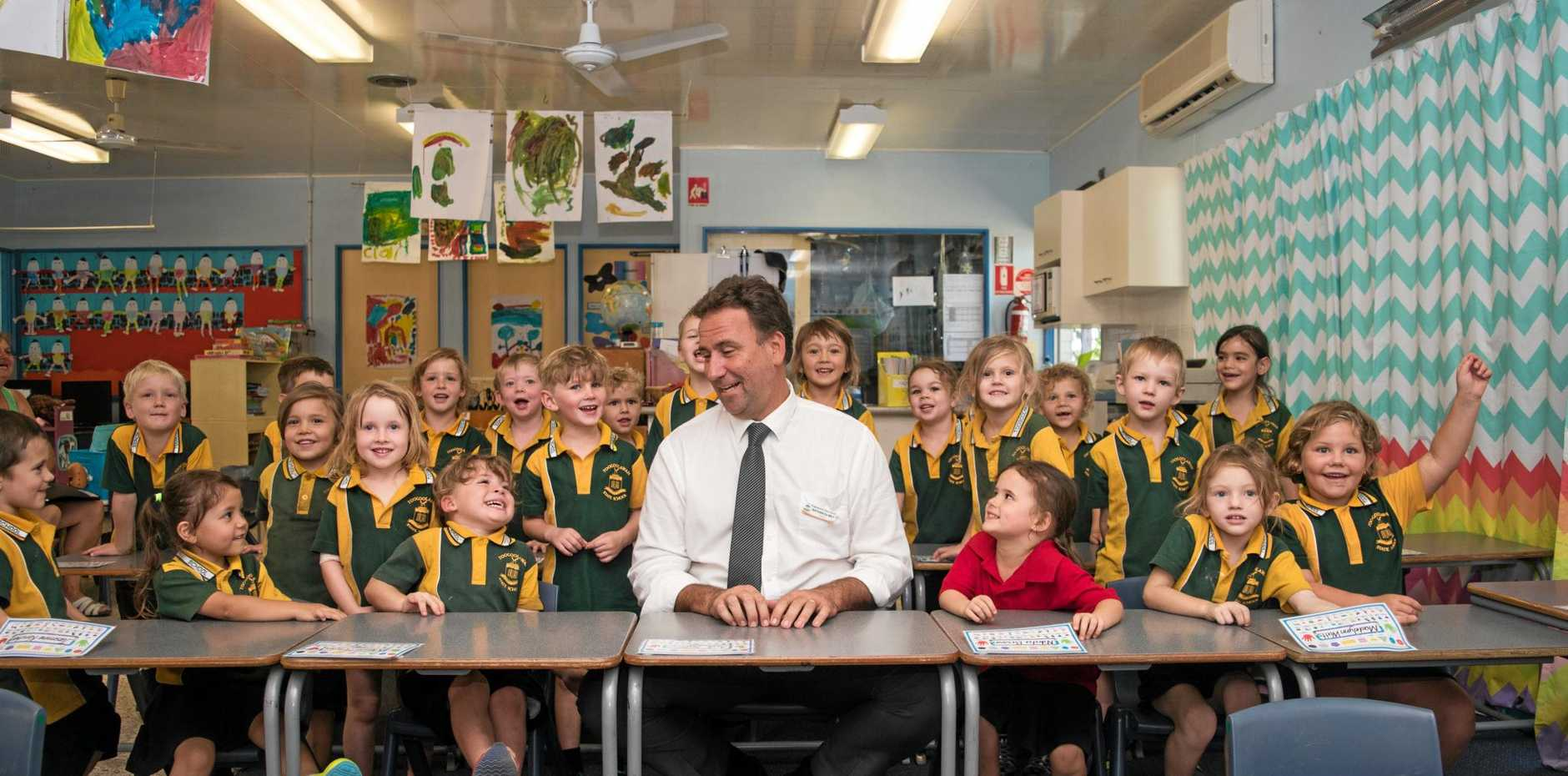 NEW FACE: Toogoolawah State School principal Nathan de May checks in with the Prep class.