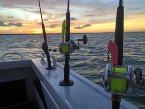 Not a bad way to finish off the first day's fishing, with the sun setting and the lures ready for an early start. Photo: contributed