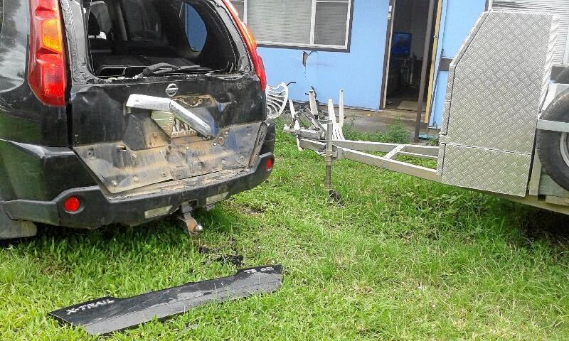 Jason Davies' Nissan X-trail was found with the boot and back window smashed in.