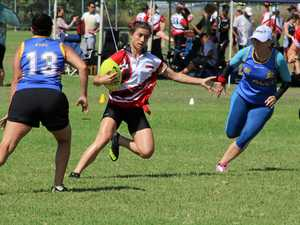 IN FORM: Nikki Cox in action at the National Touch Rugby Australia's Queensland State Trials in Laidley on Saturday.