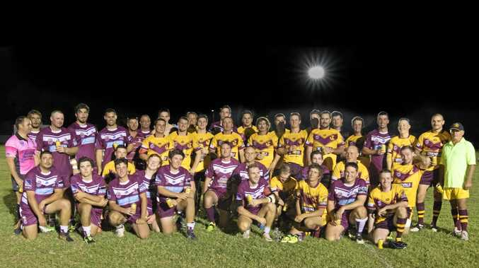 SPECIAL NIGHT: Dalby Diehards and Jandowae Fish Hooks played the first game of senior rugby league in Jandowae for 54 years.