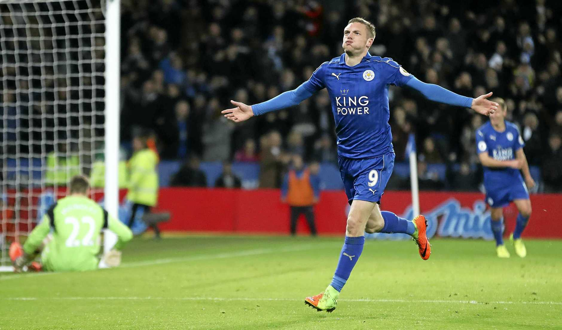 Leicester City's Jamie Vardy celebrates scoring his side's third goal goal during the English Premier League match against Liverpool at the King Power Stadium.