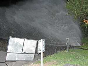 Water torrent shoots into the air on Cannonvale Street