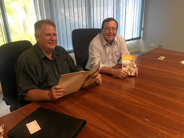 Cr Neil Fisher and Barcaldine Mayor Rob Chandler during meetings last week.