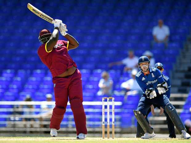 Rahkeem Cornwall bats during the tour match between the WICB President's XI and England at Warner Park in Basseterre, St Kitts.